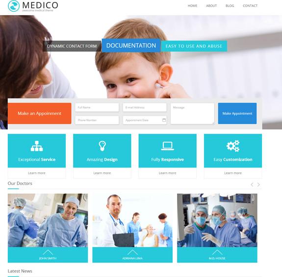 浅蓝色医疗健康CSS3模板_亿码酷站网站源码下载