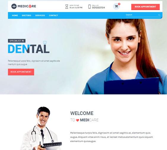 蓝色专业医院网站模板_亿码酷站