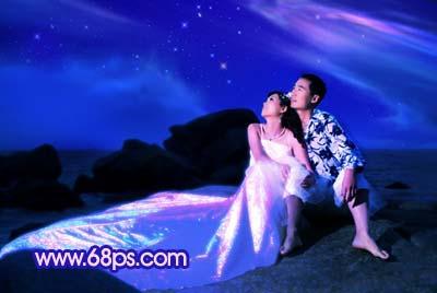 Photoshop打造梦幻色彩的夜景婚纱照_亿码酷站___亿码酷站平面设计教程插图12