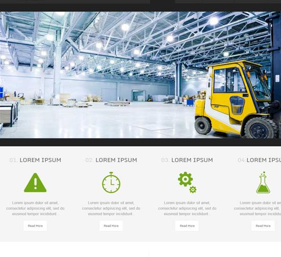 绿色清爽工程叉车建设网站模板_php网站模板