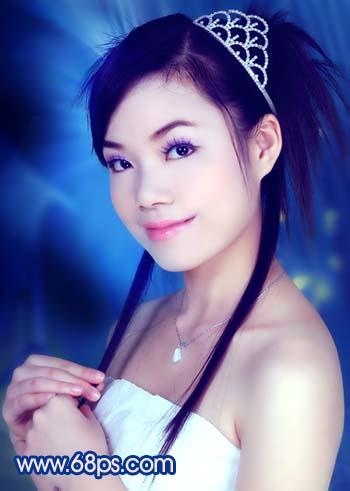 Photoshop调色教程:艳丽蓝色调的人物照片_亿码酷站___亿码酷站平面设计教程插图19