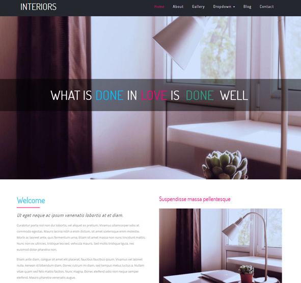 粉红色扁平化室内设计网站模板_亿码酷站网站源码下载