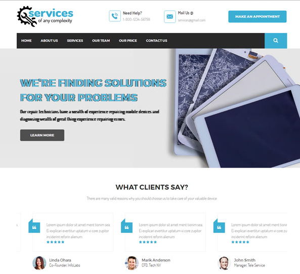 蓝色手机维修企业网站模板_亿码酷站