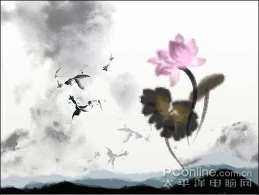 Photoshop制作一张水墨艺术画_亿码酷站___亿码酷站平面设计教程插图18