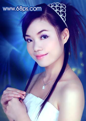 Photoshop调色教程:艳丽蓝色调的人物照片_亿码酷站___亿码酷站平面设计教程插图18