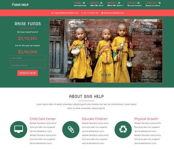 少数民族贫困儿童救助网站模板_亿码酷站网站源码下载