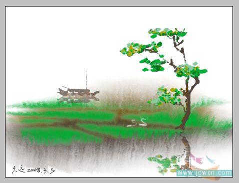 PS鼠绘水彩画效果教程_亿码酷站___亿码酷站平面设计教程