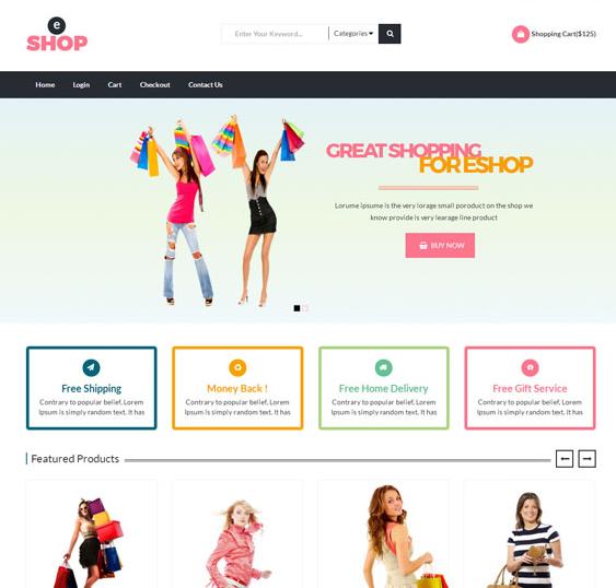 糖果色通用型HTML5电商网站模板_亿码酷站