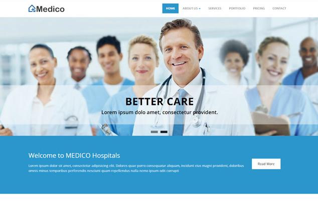 大气蓝色医疗团队网站模板_html网站模板