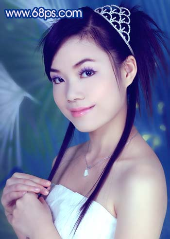 Photoshop调色教程:艳丽蓝色调的人物照片_亿码酷站___亿码酷站平面设计教程插图14