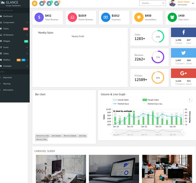 彩色全屏响应式后台管理系统模板_亿码酷站