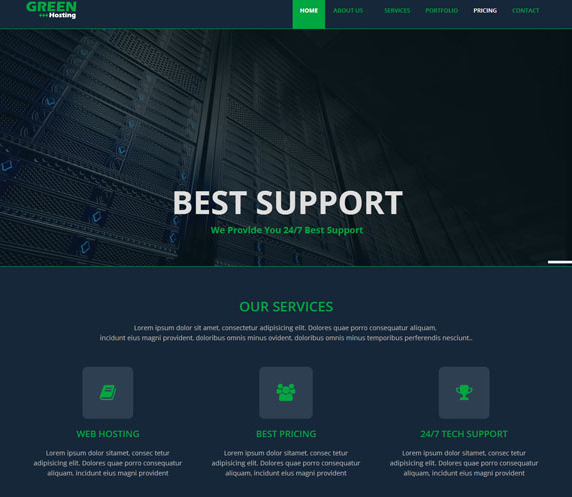 绿色网络主机网站模板_帝国cms模板