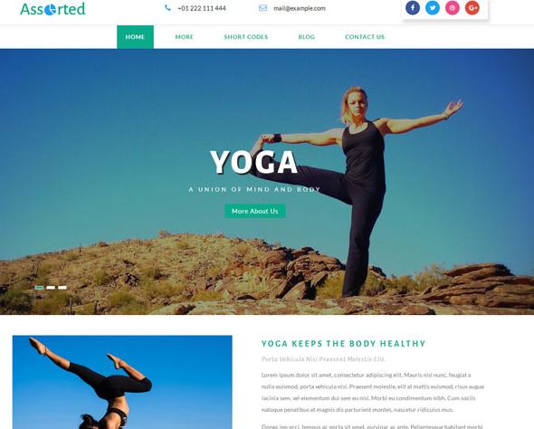 大气平整瑜伽网站模板_亿码酷站