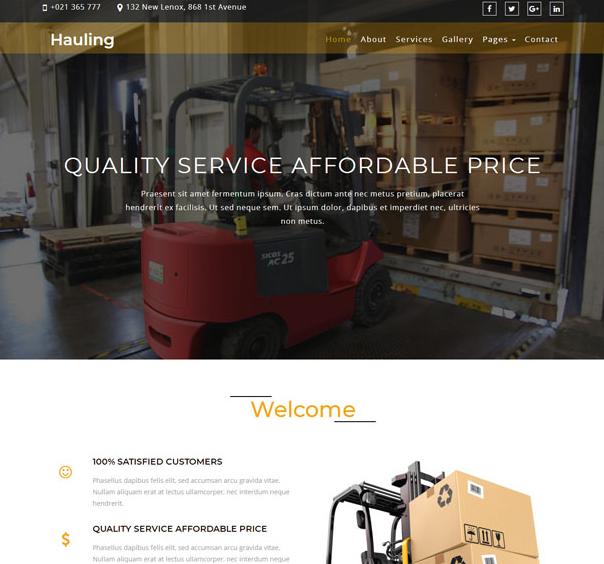 黄色工业搬运叉车企业网站模板_亿码酷站网站源码下载