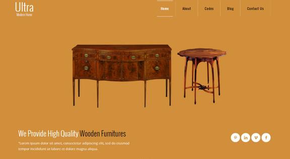 黄色实木家具企业前端网站模板_企业官网模板